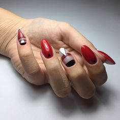 Geometric black white Red nails nail art desing nailart Black White Red, Red Nails, Nailart, Girly, Red Toenails, Women's, Red Nail, Girly Girl