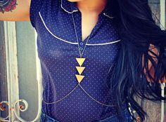 triangle body chain in antique brass, chevron necklace, triangle necklace, unique necklace, statement necklace