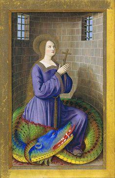 Saint Margaret with beautiful colored dragon Medieval Manuscript, Medieval Art, Illuminated Manuscript, Ste Marguerite, Dragons, Van Gogh Portraits, Blog Art, Caspar David Friedrich, St Margaret