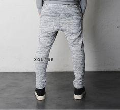Mens Drop Crotch Contrast Diamond Pattern Knited Fleece Sweat Pants at Fabrixquare