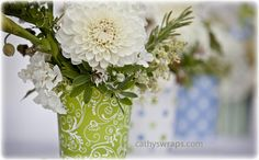 6 Whimsical Table Top Decorations Polka Dot Damask by cathyswraps