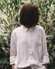 Classic White Shirt | Brunette | Lob | Minimal and Chic | HarperandHarley