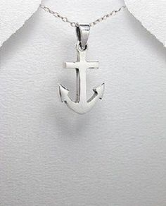 STERLING SILVER SPANISH SHIP ANCHOR NAUTICAL PENDANT NECKLACE