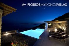 The spacious outdoor surrounding with its private infinity edge swimming pool, is located in the most panoramic position of the terrace with plenty of space for sunbathing. FMV1501 Villa for Rent on Mykonos island Greece. http://florios-mykonos-villas.com/property/fmv1501/