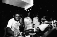 Larry Levan at the Paradise Garage with David Mancuso (centre) and Herbie Hancock (right). Courtesy of Gail Bruesewitz. Vinyl Music, Dj Music, Dance Music, Larry Levan, Paris Is Burning, Paradise Garage, Dj Sound, Disco Club, Herbie Hancock
