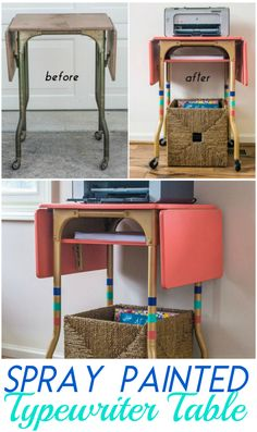 DIY HOME DECOR | Vintage Typewriter Table turned printer cart with shelf ~ You would never know this started as a $3 table from a garage sale. It's amazing what some spray paint can do!