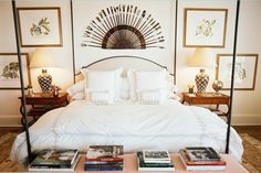 Bunny Williams Love post bed and bench with books