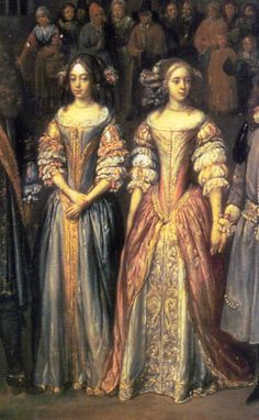 Two English ladies wear dresses with short sleeves over chemise sleeves gathered into three puffs. The long bodice front with curving bands of vertical trim is characteristic of Unknown artist. 17th Century Clothing, 17th Century Fashion, 16th Century, Baroque Fashion, European Fashion, Vintage Fashion, Historical Costume, Historical Clothing, Mode Baroque