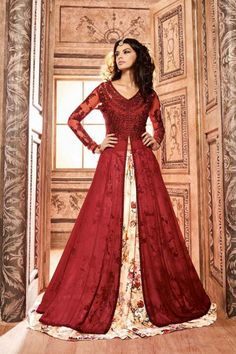 Maroon Silk Anarkali Suit With Dupatta Online http://www.andaazfashion.co.uk/salwar-kameez/anarkali-suits