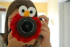 crocheted elmo lens ring - grabs little one's gaze!