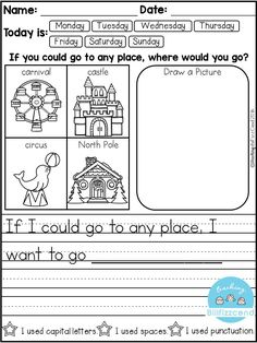 FREE 10 Kindergarten Writing Prompts with 2 option (A total of Pages). With sentence starters and without sentence starters for advance writers. This pack is great for beginning writers or struggling writers in kindergarten and in first grade to bu Kindergarten Writing Prompts, Daily Writing Prompts, 1st Grade Writing, Work On Writing, Opinion Writing, Kindergarten Reading, Writing Workshop, Teaching Writing, Writing Skills