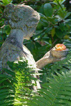 Garden Statuary-female holding flower in shade garden Love Garden, Shade Garden, Dream Garden, Garden Art, Garden Design, Garden Whimsy, Garden Statues, Garden Sculpture, Enchanted Garden