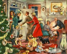 Wonderful post-war image shows guests arriving at a family Christmas gathering. Old Time Christmas, Christmas Scenes, Old Fashioned Christmas, Christmas Past, Christmas Greetings, Winter Christmas, Family Christmas, Vintage Christmas Images, Retro Christmas