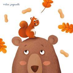 Bear by Elisa Paganelli * Ellie Page www.elisapaganell... #elliepage #elisapaganelli #bear #cute #color #illustration #illustrazione #illustratrice #squirrel #autumn #leaves