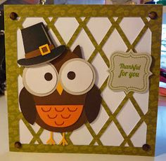 Made with Miss Kate Cuttables cute owl by Cool Beans by L.B.: Thankful for You - Die Cuttin' Divas Thanksgiving Challenge