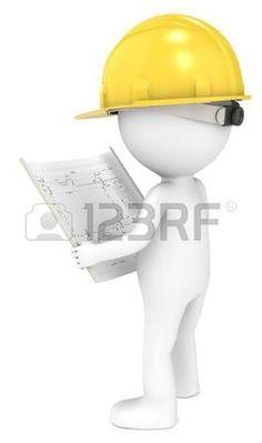 Personaje con casco de seguridad amarillo, mirndo un plano.