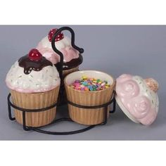 Ceramic Cupcake Topping Covered Bowls