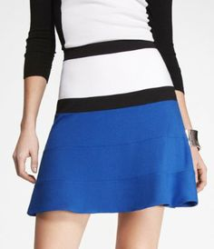 PONTE KNIT FIT AND FLARE SKIRT