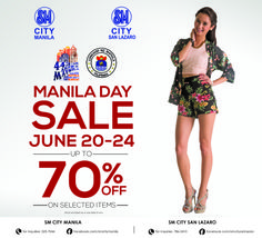 The hottest sale in the metro is coming! SM CITY MANILA'S MANILA DAY SALE happening on JUNE 20-24! Get up to 70% off on your favorite shopping finds! Plus get to win awesome prizes for our Spin and Win Promo! For a minimum single receipt purchase of Php2,000.00, you automatically get the chance to spin for prizes from our sponsors. Levi's World of Fun Slimmer's World Quantum Freshaire and many more! Worlds Of Fun, Get Up, Slimming World, Manila, Spin, June, Shit Happens, City, Awesome