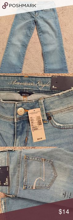 American Eagle Outfitters slim boot jean New with tags. Slim boot cut fit. Vintage light wash. Regular stretch denim. Size 4 short American Eagle Outfitters Jeans Boot Cut