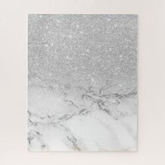 Shop Modern faux grey silver glitter ombre white marble jigsaw puzzle created by girly_trend.
