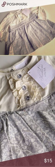 Heirlooms dress. NWT! gorgeous ivory and silver dress by Heirlooms by Polly Flinders. new with tags! Heirlooms Dresses