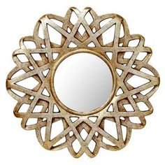 """Wall mirror with an antiqued silver finish.       Product: Wall mirrorConstruction Material: MDF, mirrored glass and polyurethaneColor: Gold and silverDimensions: 30"""" Diameter"""