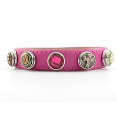 Hot Pink Strap Mini Snap Charm bracelet.  The charms snap on & off so they can be swapped with other charms to suit your mood.  Just $13.95.