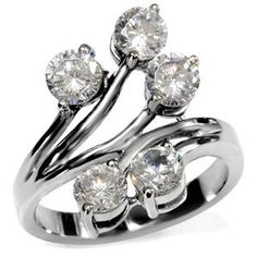 Stainless Steel Clear Cubic Zirconia Branch Ring $19.99  www.eternalsparkles.com    #stainlesssteel  #ring #jewelry