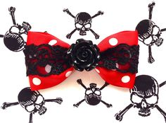 """We just love the skull lace on this hair bow! With a lovely rose to boot, what's not to love! Perfect for any rockabilly gal or psycho doll! Get yours today! Available in other fabulous colors!COMING SOON with WHITE LACE AND ROSE!Hair bow is approx. 4 1/4"""" wide, polka dot grosgrain is 2 1/4"""" wide, skull lace is 1 1/2"""" wide, rose cabochon is 1 1/8"""" at widest point, and double prong alligator clip.** Each hair bow is made-to-order, so each one will be d..."""