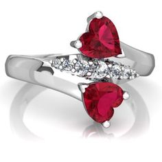 Lab Ruby Heart To Heart Bypass 14K White Gold ring R2064 - front view