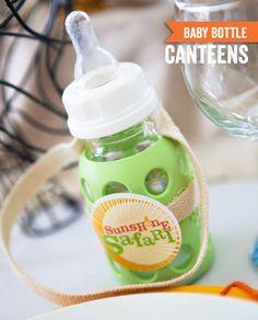 Sunshine Safari Baby Shower Table {Operation Shower} Baby Bottle Canteens @HUGGIES Baby Shower Planner