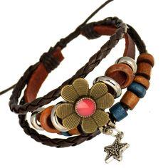 Metal Flower Centre Pink Leather Hemp Cord Bracelet Beads Ethnic Star Charm | Fruugo