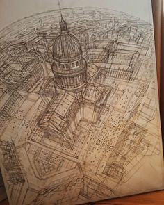 Artist Creates Meticulously Architecture Sketches of Buildings Around the World - Perspektiven & Optik Techniken - Architektur Building Drawing, Building Sketch, Architecture Concept Drawings, Art And Architecture, Monuments, Art Sketches, Art Drawings, Sketches Of Buildings, Perspective Sketch