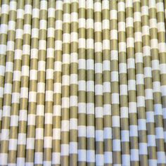 Rugby Stripe Gold Metallic Party Paper Straws