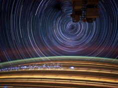 Astronaut Don Pettit took photos of star trails, terrestrial lights, airglow and auroras while aboard the International Space Station on May 17, 2012. But he took the images when the shuttle was on Earth
