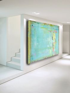 ABSTRACT PAINTING Huge Large Blue Green by CherylWasilowArt