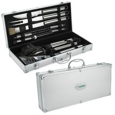 """BBQ 11-piece Set 15677 - Perfect for the next BBQ, this 11 piece set has all you need. The high quality sturdy case ensures the tongs, spatula, fork, basting brush, knife, 4 skewers and grill cleaning brush are well protected. Material: Case: aluminum, Tools: stainless steel. Product size: 18 7/8"""" w x 3 1/4"""" h x 8 1/4"""" d. #propelpromo"""
