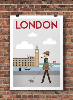 London, Travel Poster, Poster England, Travel Art Print, Travel Decor, Size A2 or 16 x 20