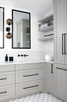 A cool contemporary bathroom. A neutral envelope, hits of black, subtle pattern and savvy storage give this bathroom a sleek, modern vibe. home accent, Square Bar Kitchen Cupboard Handle Pulls Black Cabinet Hardware Drawer Pulls Knobs Grey Bathrooms, Beautiful Bathrooms, Small Bathroom, Bathroom Storage, Bathroom Ideas, Neutral Bathroom, Bathroom Vanities, Basement Bathroom, Bathroom Modern