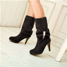 Shoespie Suede Rhinestone Mid-calf High Heels Boots