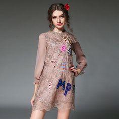 Women Beaded Plus Size Sleeve Lace Party Dress Renda Vestido Sheer Lace Dresses