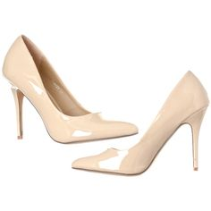 Women's Riverberry Women's Gaby Pointed Closed Toe Stiletto Pump Heels... ($29) ❤ liked on Polyvore featuring shoes, pumps, beige, pumps & heels, patent pumps, beige pumps, closed-toe pumps, beige patent pumps and nude pumps