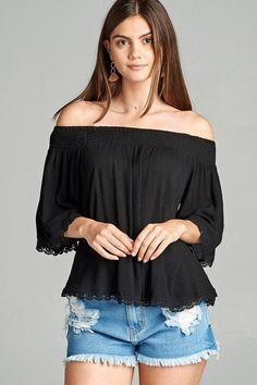 Salt Tree Women's Linen Ribbed Off The Shoulder Crochet Top, US Seller