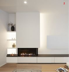 Living Room Tv Unit Designs, Living Room Wall Units, Living Room Modern, Home Living Room, Home Fireplace, Living Room With Fireplace, Fireplace Design, Family Room Walls, Living Room Remodel