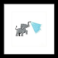Elephant Marching Spraying Water Cartoon Framed Print by Aloysius Patrimonio. Illustration of an african elephant marching prancing spraying water from trunk viewed from the side set on isolated white background done in cartoon style. #illustration #ElephantMarchingSpraying