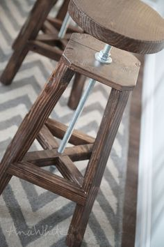 Ana White Build a Industrial Adjustable Height Bolt Bar Stool Free and Easy DIY Project and Furniture Plans Diy Bar Stools, Diy Stool, Foot Stools, Counter Stools, Diy Furniture Plans Wood Projects, Bar Furniture, Wicker Furniture, Furniture Design, Plywood Furniture