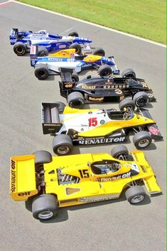 Classic Renault Sport Formula One cars. Photo by Renault Sport on May 2014 at Renault turbocharger tribute. Browse through our high-res professional motorsports photography Renault F1 Team, Renault Sport, Renault Formula 1, Formula 1 Car, Damon Hill, F1 Racing, Drag Racing, Alpine Renault, Cj Jeep