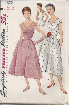 Vintage Sewing Patterns Vintage 1954 Prettiest Party Dress Sewing Pattern Deep V - 1950s Dress Patterns, Dress Sewing Patterns, Vintage Sewing Patterns, Clothing Patterns, Pattern Dress, Pattern Sewing, Lace Party Dresses, Vintage Dresses, Vintage Outfits