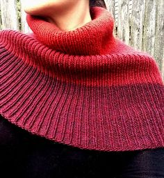 Free Knitting Pattern for Trifecta Shoulder Cozy - This cowl/ shoulder cover can be worn in variety of ways. Knit in ribbing in rounds in worsted weight yarn. Designed by Angela Juergens